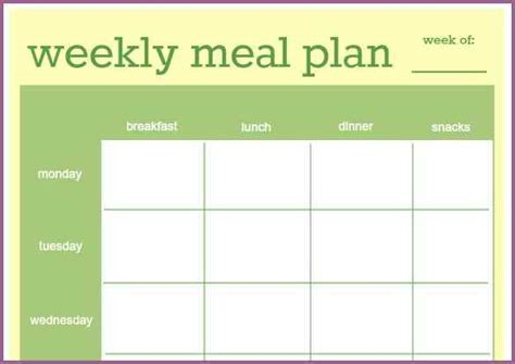 meal plan template word designproposalexle com