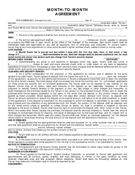 civil code section 1954 month to month rental agreement sle form free download