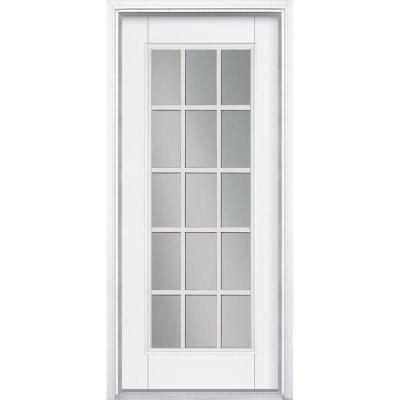 15 Lite Exterior Door Masonite 32 In X 80 In 15 Lite Primed Smooth Fiberglass Prehung Front Door With Brickmold