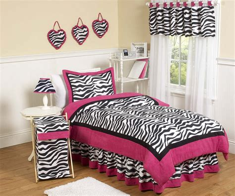 Hot Pink Black White Zebra Print Comforter Sets Full Queen Girls Bedding
