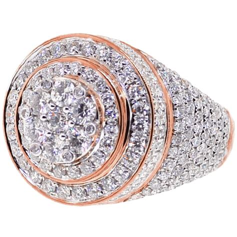 mens diamond  cluster pinky ring  rose gold  ct