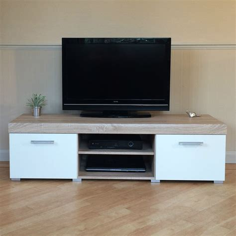 Besta Tv Bench With Drawers White Amp Sonoma Oak Effect 2 Door Tv Cabinet Plasma Low
