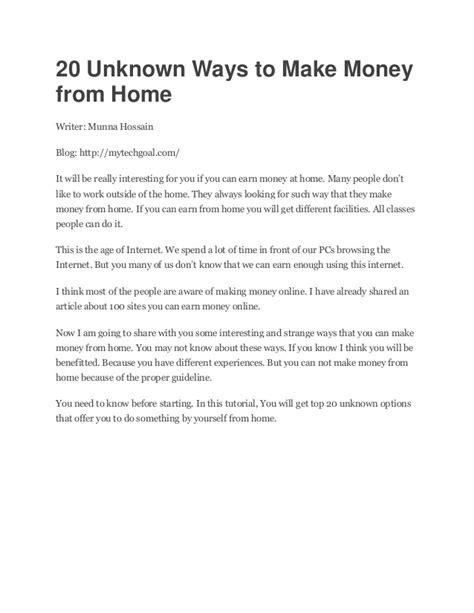 20 Ways To Make Money Online - unknown ways to make money online