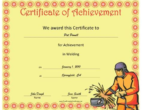 welding certificate template this welding achievement certificate features a welder in