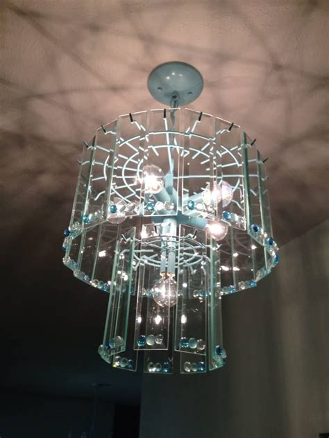 Spray Paint Chandelier Rummage Sale Brass Chandelier Painted Spray Painted Blue And Add Marble Gems To The Glass