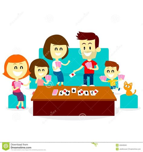 House Design Plans Games by Playing Fun Card Games With Family Stock Vector Image