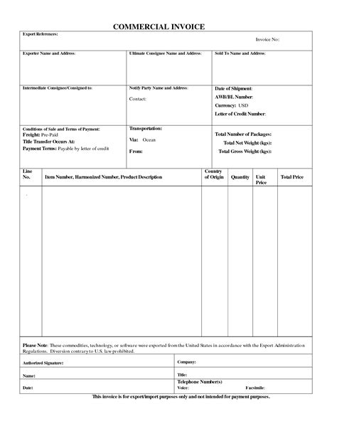 best photos of standard commercial invoice form blank