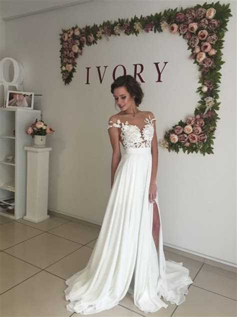 Summer Wedding Dresses by Sleeve A Line Chiffon Summer Wedding Dresses Split