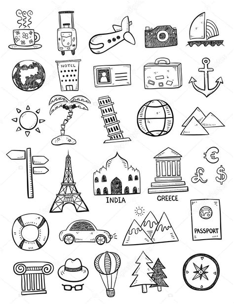 travel doodle free vector black travel doodles stock vector 169 orfeev 74461435