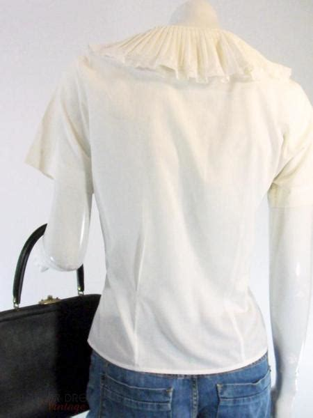vintage  short sleeve cream blouse portrait collar