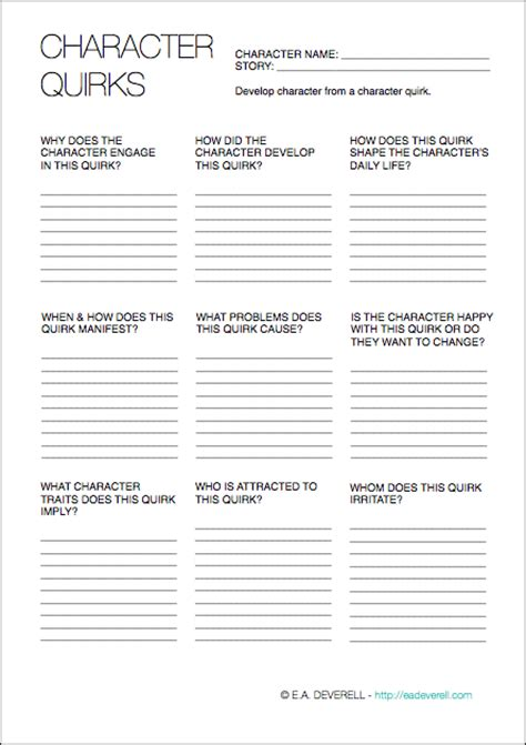 Character Building Worksheets For Writers by Character Development Worksheet For Writers Resultinfos