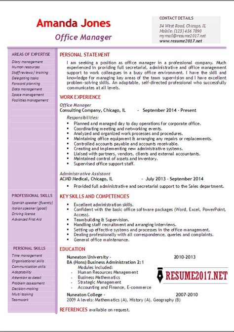 Resume Exles 2017 Office Manager Resume Exles 2017