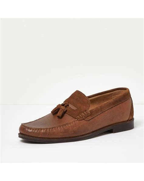 D Island Boots Portland Slip On Leather Brown river island leather tassel loafers in brown for