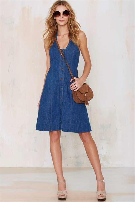gal vintage denim halter dress in blue lyst