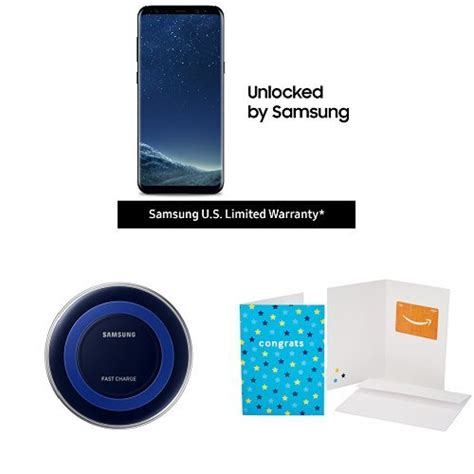 Samsung S8 Gift Card - samsung galaxy s8 unlocked phone with qi fast wireless charger and 100 amazon gift