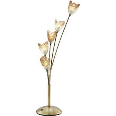 glass table ls amazon lite source ls 3945brz tulip flower 5 lite table l with