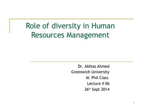 Greenwich School Of Management Mba by Lecture 06 Diversity At Workplace