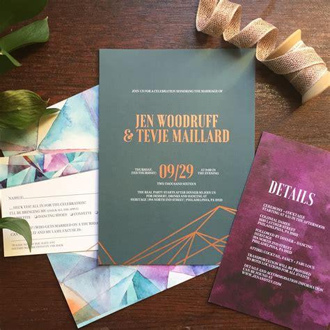 wedding invitation jewels eclectic tone geometric wedding invitations