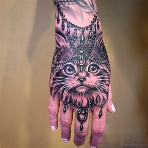 43 attractive cat tattoo on hand