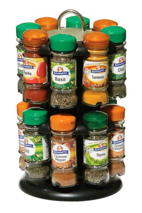 Schwartz Spices Rack 2 tier spice rack with 16 schwartz spices