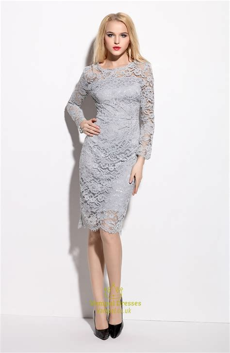 Sleeve Sheath Lace Dress grey lace illusion neckline overlay sheath dress with