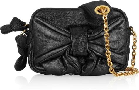 Couture Leather Shoulder Bag by Couture Bow Front Metallic Leather Shoulder Bag In