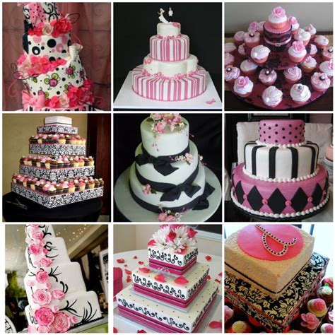 Black, White, and Pink Wedding Cakes   Here Comes The Blog