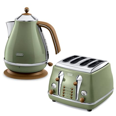 Delonghi Olive by De Longhi Icona Vintage 4 Slice Toaster And Kettle Bundle Olive Green Iwoot