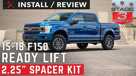 ford  readylift  front strut extension leveling kit install  review youtube