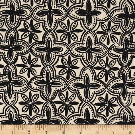 black and white home decor fabric ansley home decor quarterfoil black natural discount
