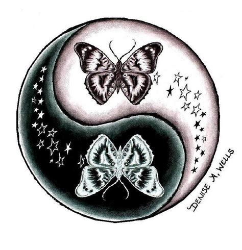 yin yang butterfly tattoo designs butterfly and yin yang design by a