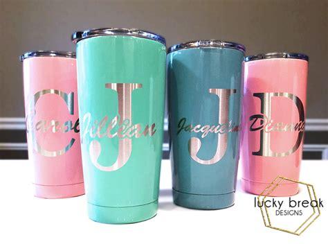 cheap monogrammed tumblers yeti rambler 174 custom laser engraved powder coated cup