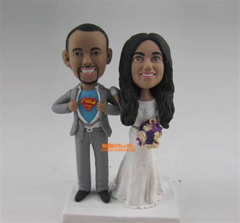 bobblehead wedding topper superman cake topper wedding topper bobblehead custom cake