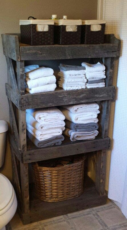 pallet wood bathroom shelf completed projects