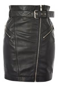topshop belted zip front leather skirt in black lyst
