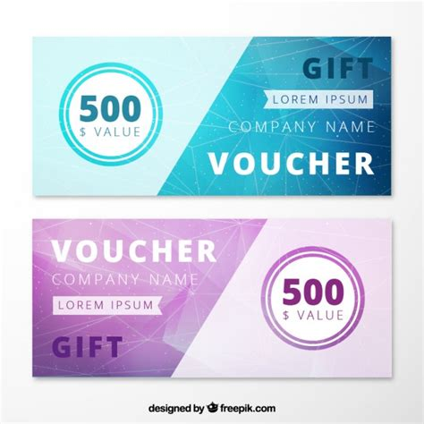 Abstract Gift Voucher Pack Vector   Free Download