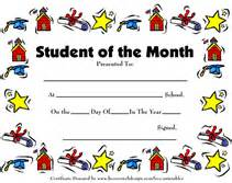printable student of the month awards certificates