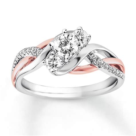 engagement ring 5 8 ct tw cut 14k two tone