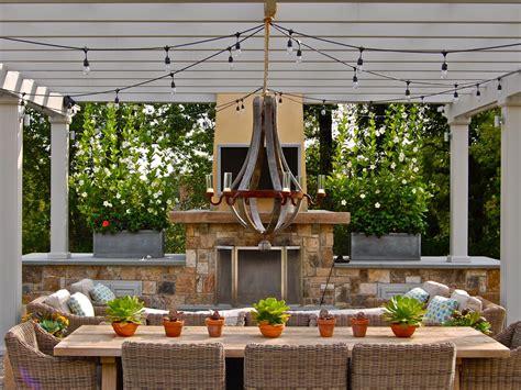 outdoor string light chandelier 25 gorgeous outdoor chandeliers hgtv s decorating