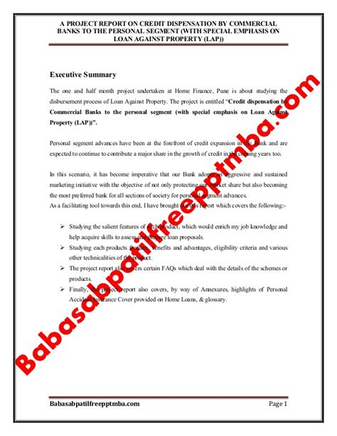 Project Report Template For Bank Loan A Project Report On Credit Dispensation By Commercial
