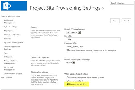 project server 2013 pwa settings update project site creation settings on the target pwa