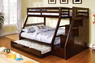 Solid Wood Bunk Bed With Trundle Ellington Walnut Solid Wood Step Bunk Bed Drawers Trundle