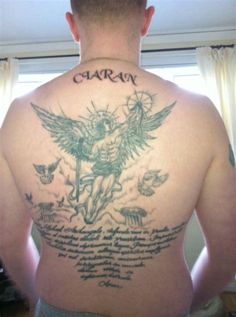 angel tattoo latin 30 awesome back tattoos for guys creativefan