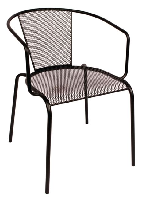 Outdoor black wrought iron mesh restaurant arm chair w rounded back