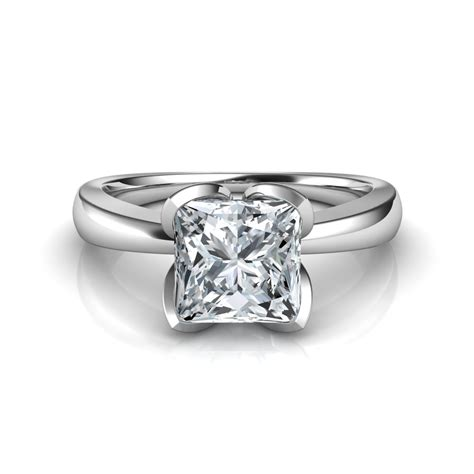 petal design princess cut solitaire engagement ring