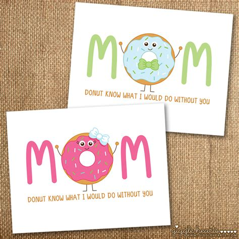 s day cards free printable donut themed s day cards