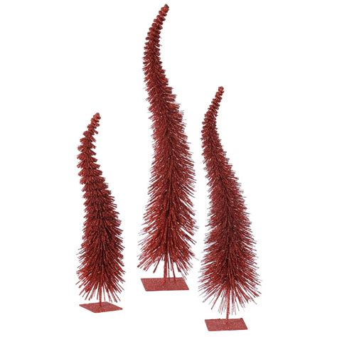 vickerman 33308 18 quot 22 quot 26 quot red glitter curved tree set