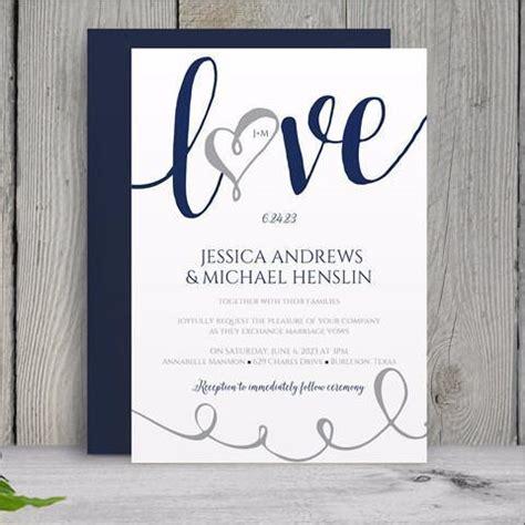 Wedding Invitation Template Love Script Navy Blue Silver Navy Blue Wedding Invitation Templates