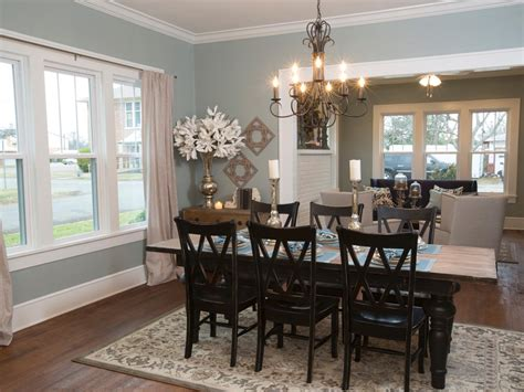 blue dining room  country dining table  chairs hgtv