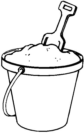 beach pail and shovel coloring book page